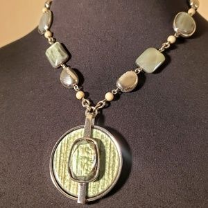 Chico's Green & Silver Necklace